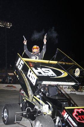 Eric Humphries celebrates his win
