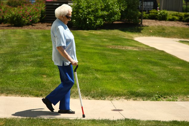 Senior with cane