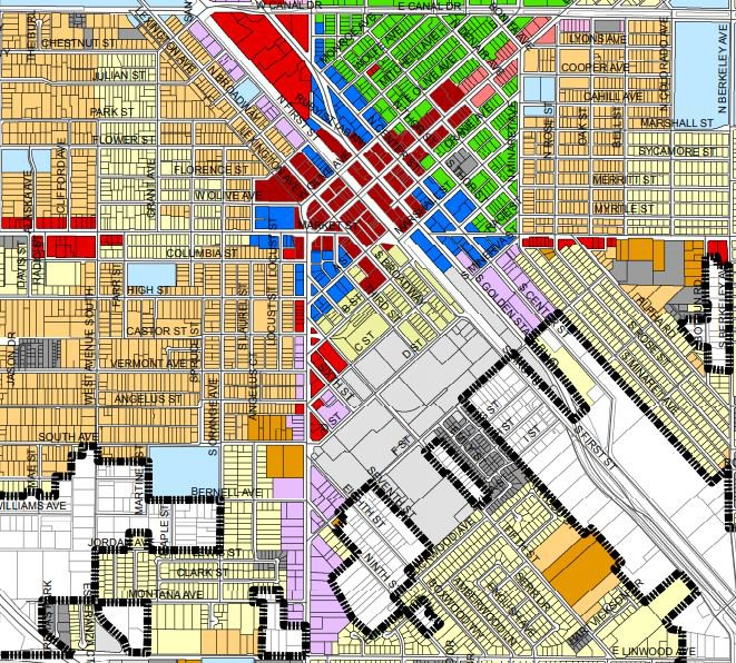 downtown industrial zone map