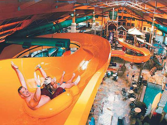 great wolf lodge kid on slide