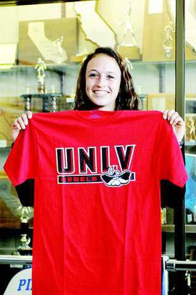 Becky Hobby with UNLV shirt