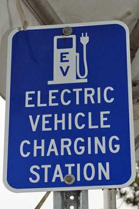EV Charging Station sign NC zoom in