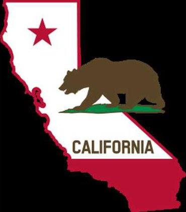 California - Outline and Flag - Solid