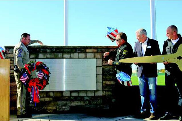 Dedicating vet memorial