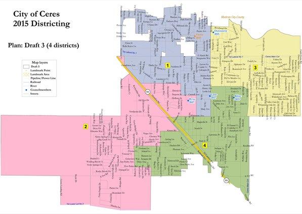 Ceres City Council district map