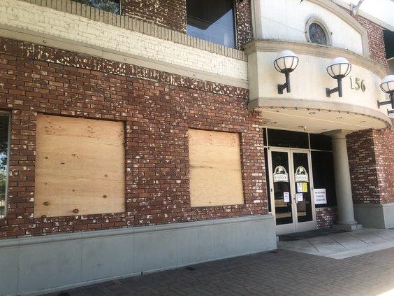 City Hall windows vandalism