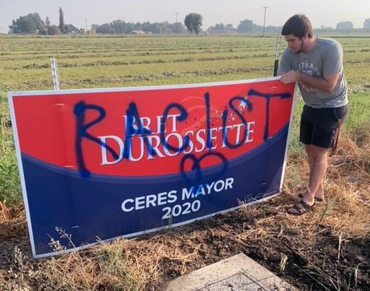Ceres mayors race sign vandalized