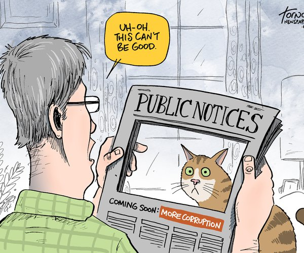 editorial cartoon public notices