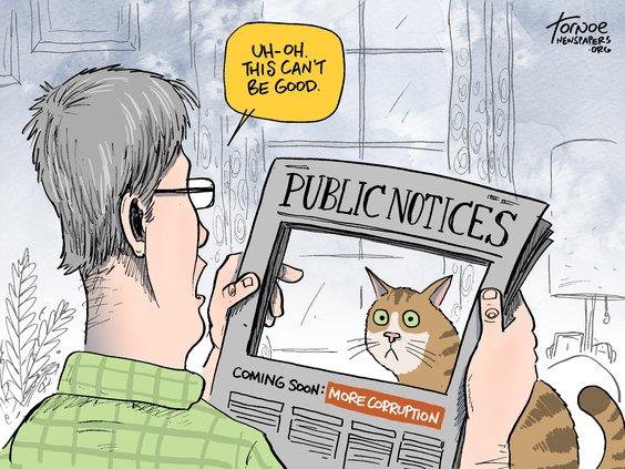 editorial cartoon public notices