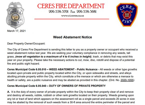 weed abatement letter