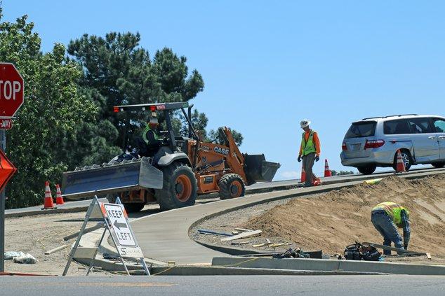Pine street roundabout work