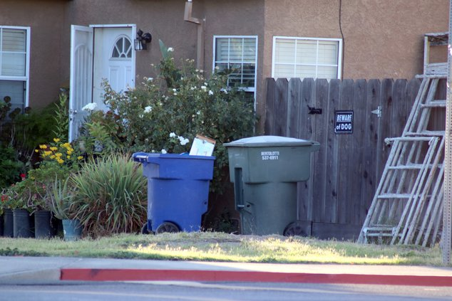 Trash can in Ceres yard