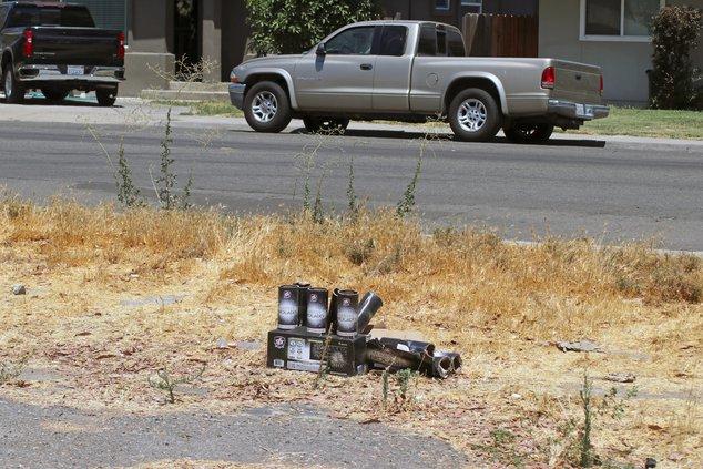 Mortars in grass