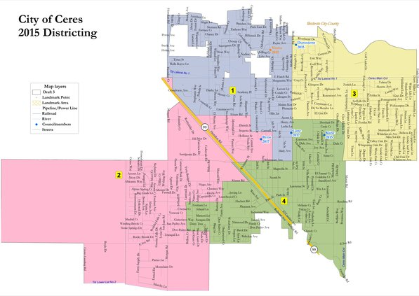 Ceres map of Council Districts