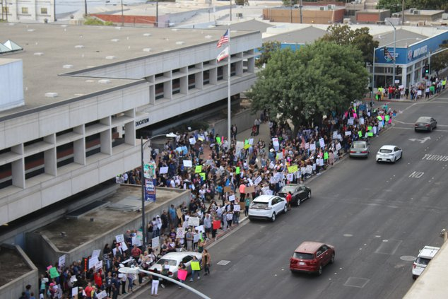 Protestors line H